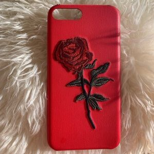 Red Rose Embroidered IPhone 7 Plus Case